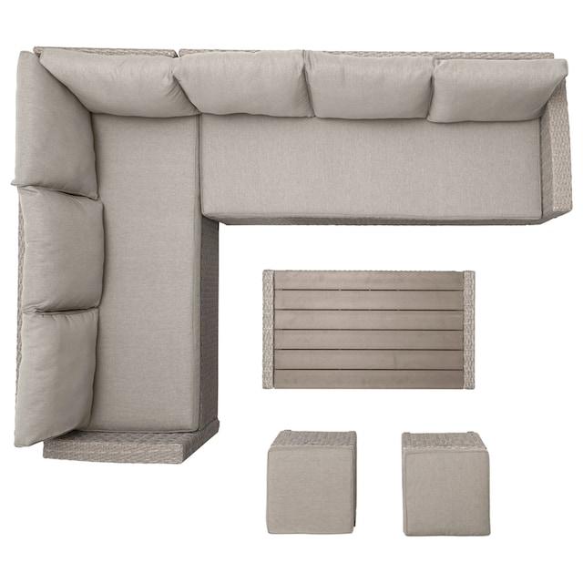 KONIFERA Loungeset »Lorca de luxe«, 16 tlg.- 2x Ecksofa, 2 Hocker, Tisch 100x55 cm, Polyrattan