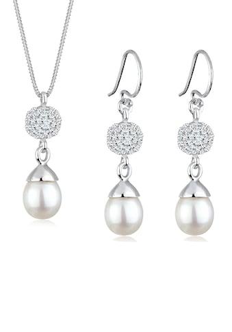 Elli Schmuckset »Kette und Ohrhänger mit Perlen und Kristallen« kaufen