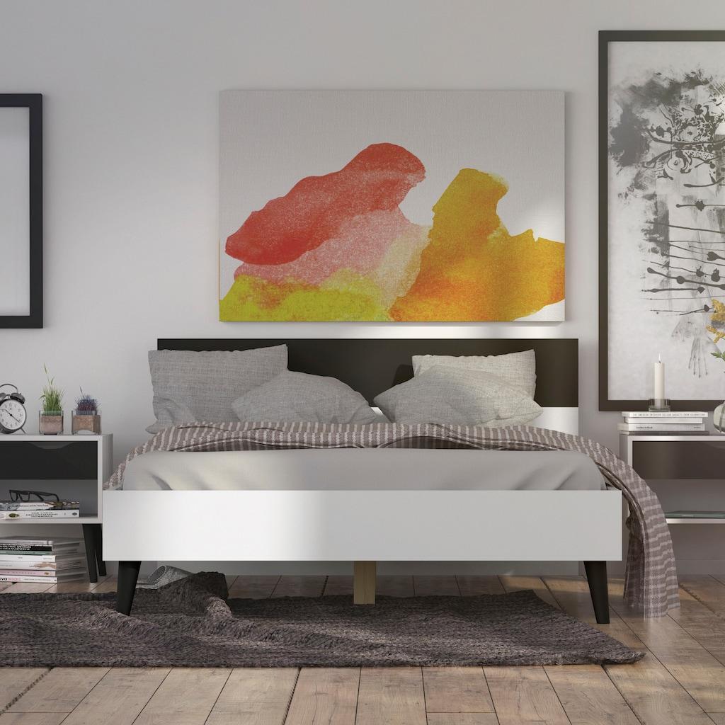 Home affaire Bett »Oslo«, mit massiven Eichenholzbeinen, Zweifarbig, Made in Denmark, in verschiedenen Bettbreiten