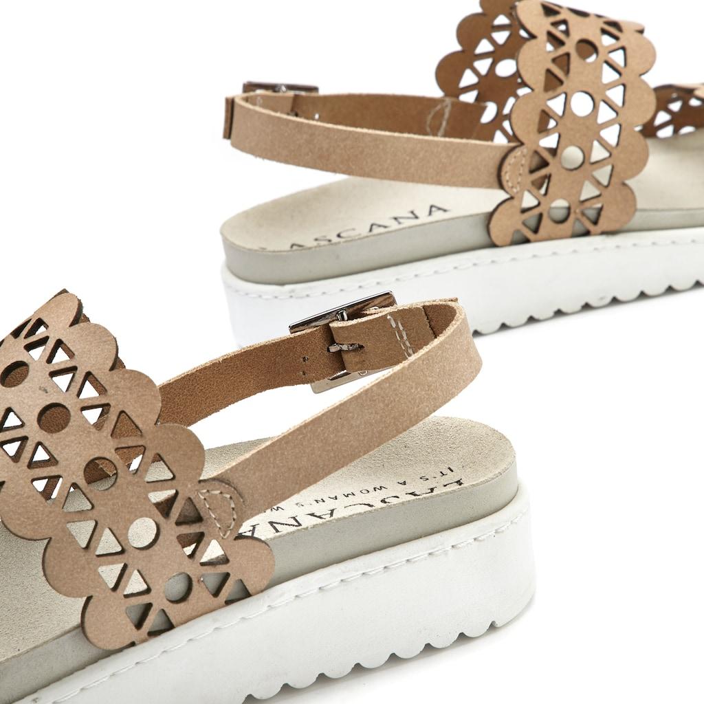LASCANA Sandale, aus Leder mit bequemem Leder-Fußbett und modischen Cut-Outs