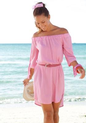 rosa, schulterfreies Blusenkleid mit Gürtel