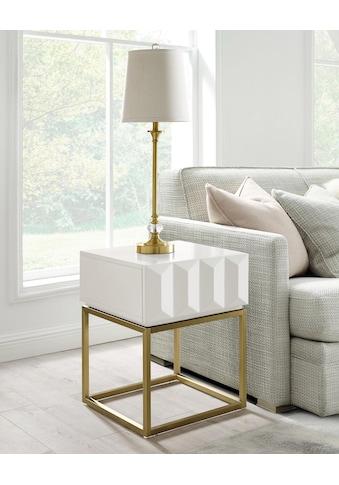 Leonique Beistelltisch »Alais«, in 3D-Optik, mit goldfarbenem Metallgestell, auch als Nachttisch geeignet kaufen