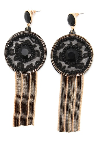 J.Jayz Paar Ohrstecker »Leo-Design, schwarz«, mit Acrylperlen und Glassteinen kaufen