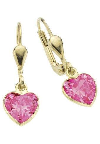 Firetti Paar Ohrhänger »Herz, glänzend«, mit Zirkonia kaufen
