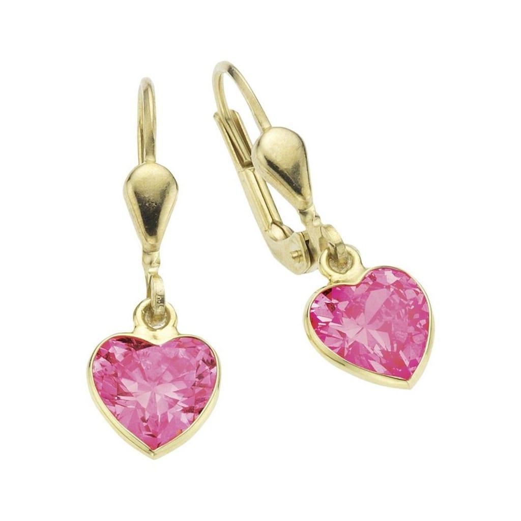 Firetti Paar Ohrhänger »Herz, glänzend«, mit Zirkonia