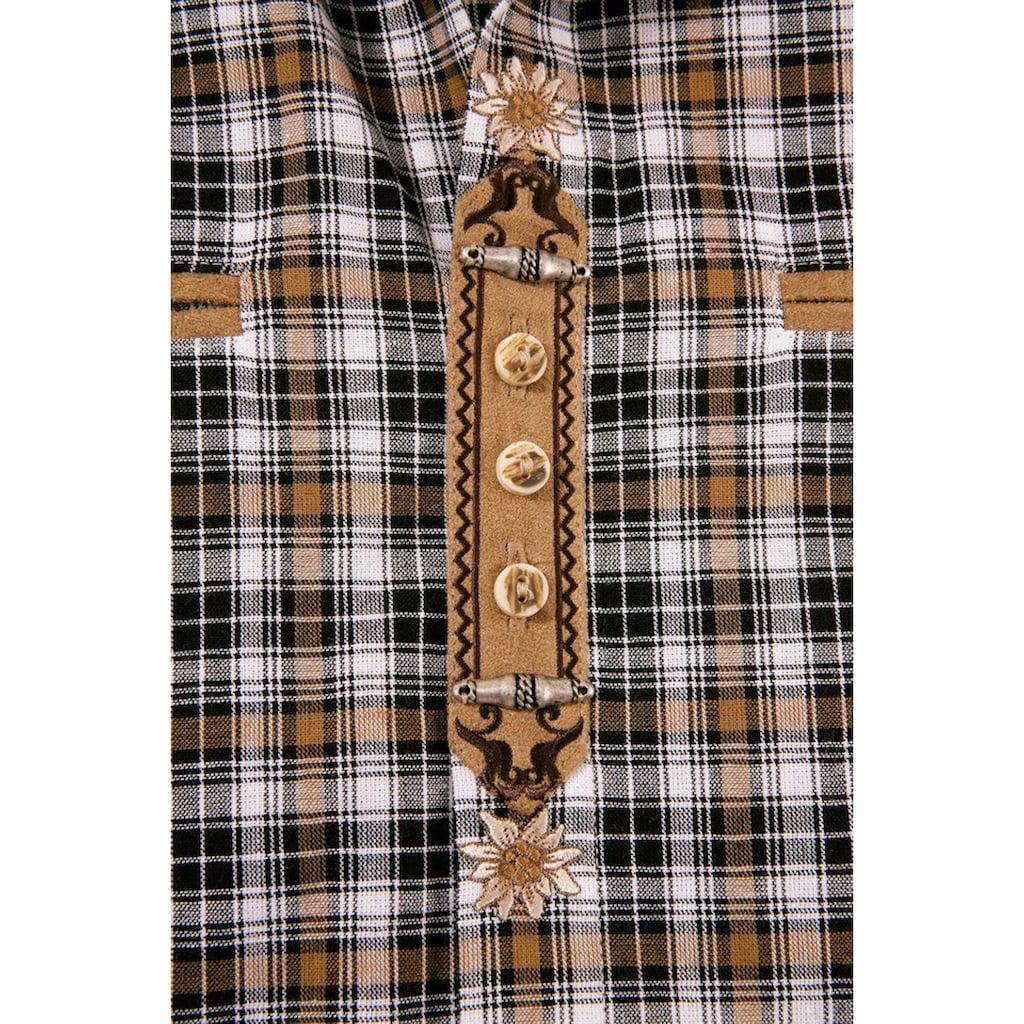 OS-Trachten Trachtenhemd, mit Lederimitat-Appliaktion