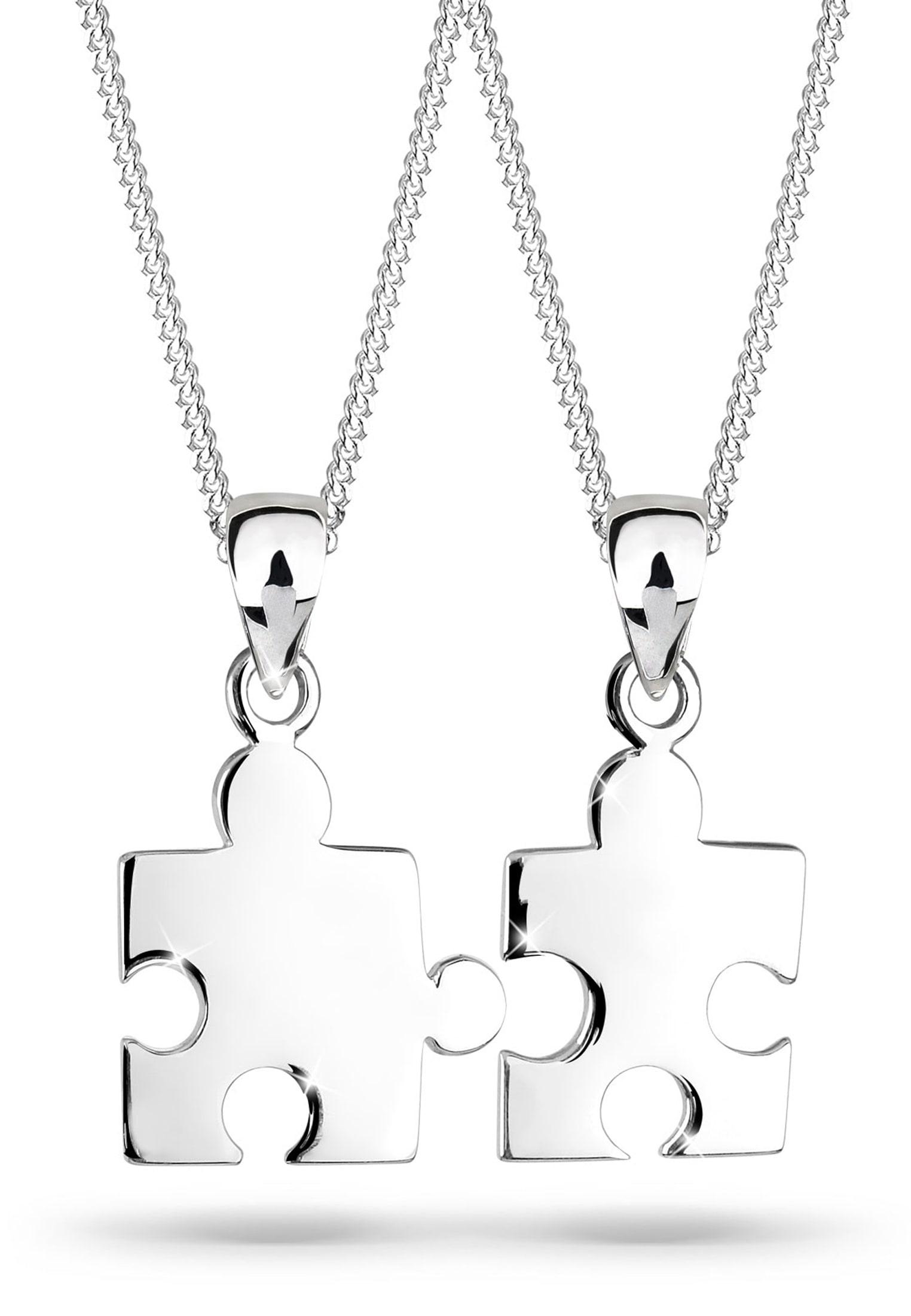 Elli Set: Halskette »Partnerketten Puzzle 925 Sterling Silber« 2 tlg.