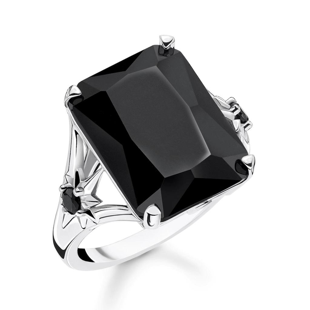 THOMAS SABO Silberring »Stein schwarz groß mit Stern, TR2261-641-11-52, 54, 56, 58, 60«, mit Onyx und Zirkonia
