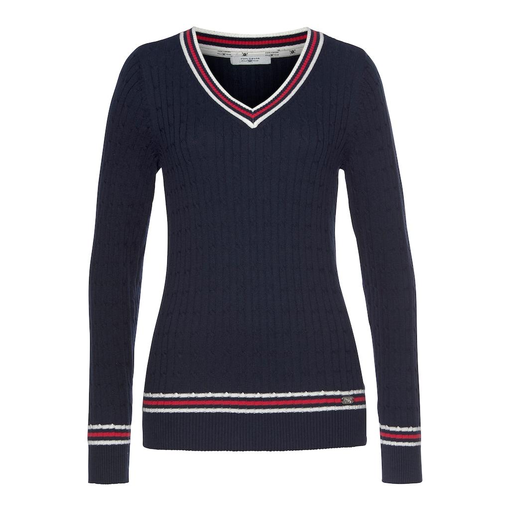 TOM TAILOR Polo Team V-Ausschnitt-Pullover, mit Kontrast Streifen