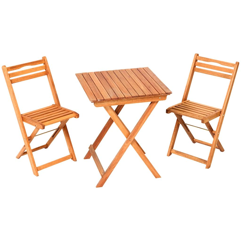 MERXX Gartenstuhl »Porto«, 2er Set, Eukalyptusholz, klappbar, braun