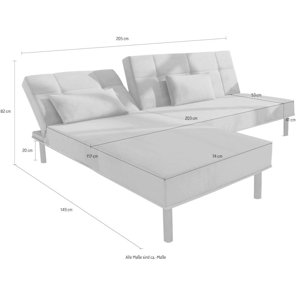 COLLECTION AB Ecksofa, inklusive Bettfunktion, Recamiere wahlweise links oder rechts montierbar, frei im Raum stellbar, mit verstellbarer Rückenlehne