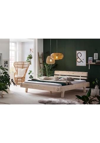 SalesFever Holzbett, aus Massivholz Fichte, Balkenbett in uriger Optik, Futonbett im... kaufen