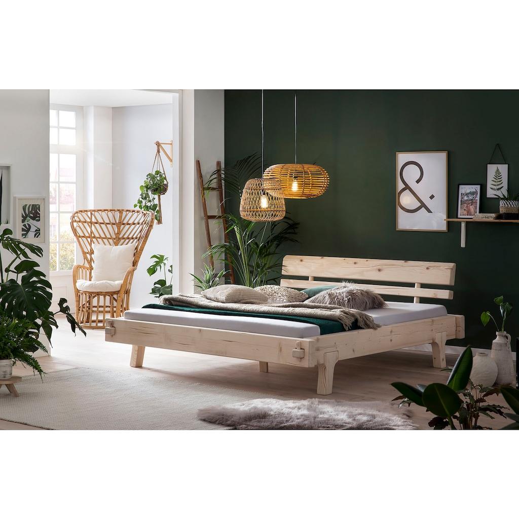 SalesFever Holzbett, aus Massivholz Fichte, Balkenbett in uriger Optik, Futonbett im Landhaus Stil, Massivholzbett