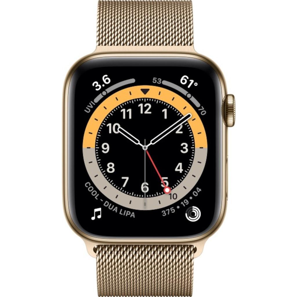 Apple Smartwatch »Series 6, GPS + Cellular, Edelstahl-Gehäuse, 44 mm mit Milanaisearmband«, (Watch OS)