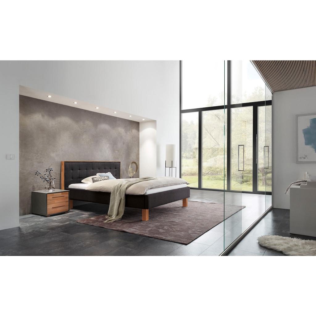 HASENA Polsterbett »Noah«, Fußfarbe Kernbuche, Komforthöhe, Fußhöhe 25 cm