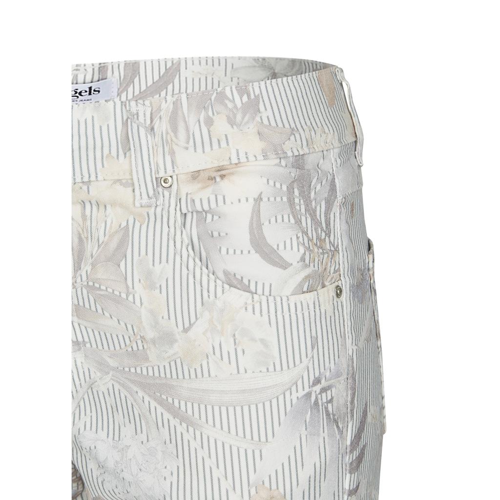 ANGELS 7/8-Jeans, 'Ornella Cargo' mit geblümten, gestreiften Details