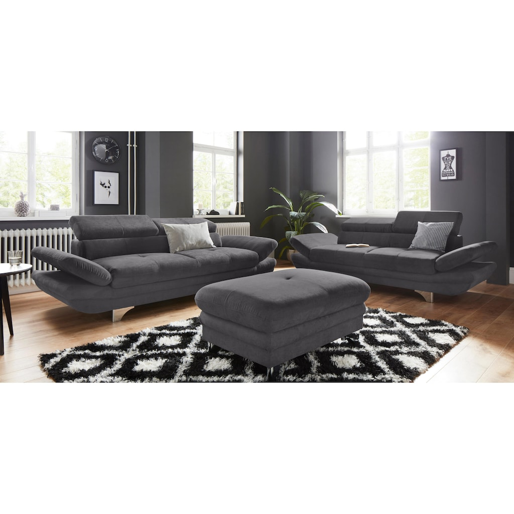 COTTA Polstergarnitur, (Set), Set: bestehend aus 3-Sitzer und Hocker, Sofa inklusive Kopf- und Armteilverstellung