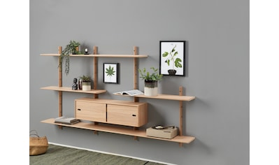 PBJ Wandregal »Less«, inklusive 1 kleinen Schrank mit Schiebetüren, Breite 220 cm kaufen