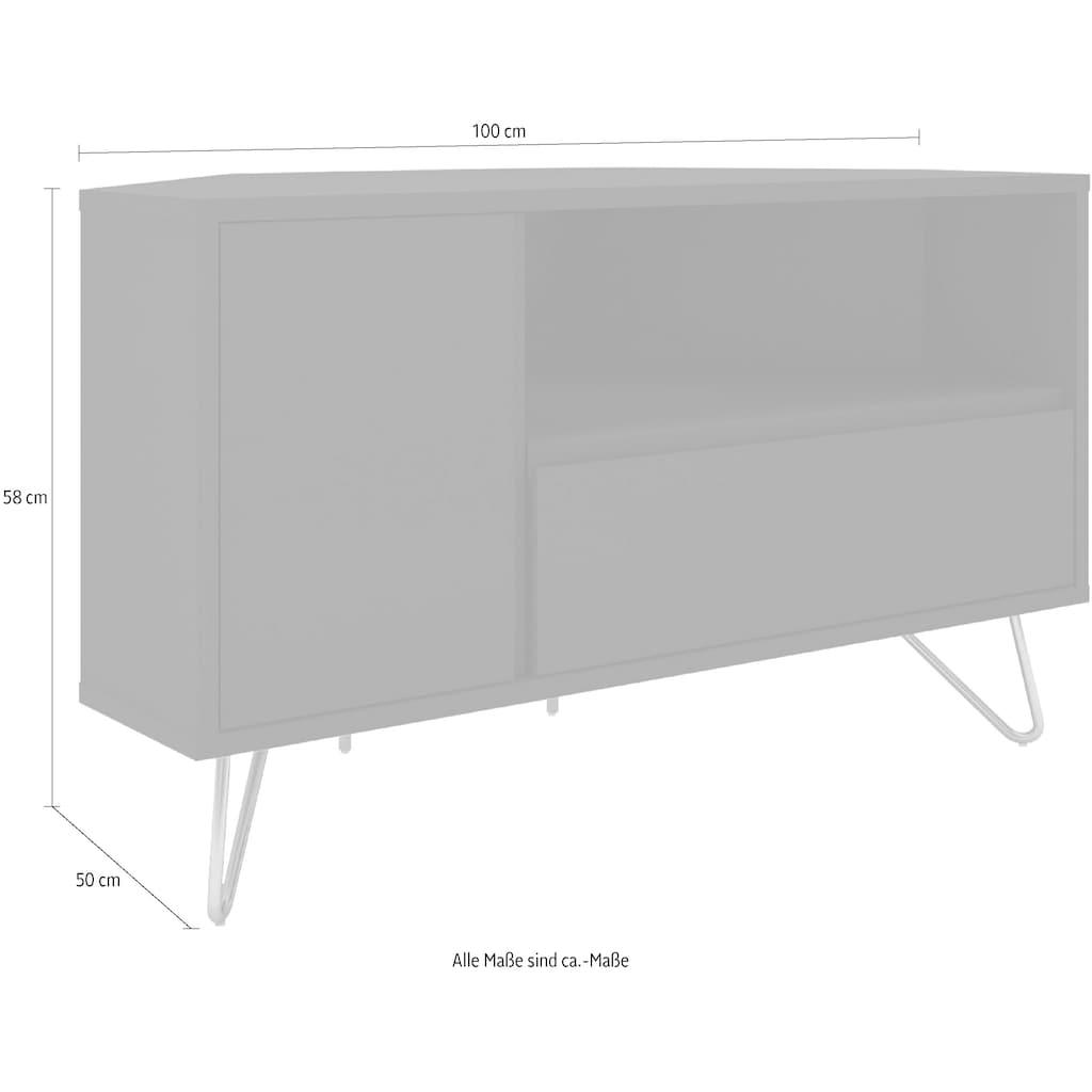 SalesFever TV-Board, Ecklösung, Lowboard in praktischer Form, TV-Kommode matt lackiert, Push-to-open Funktion