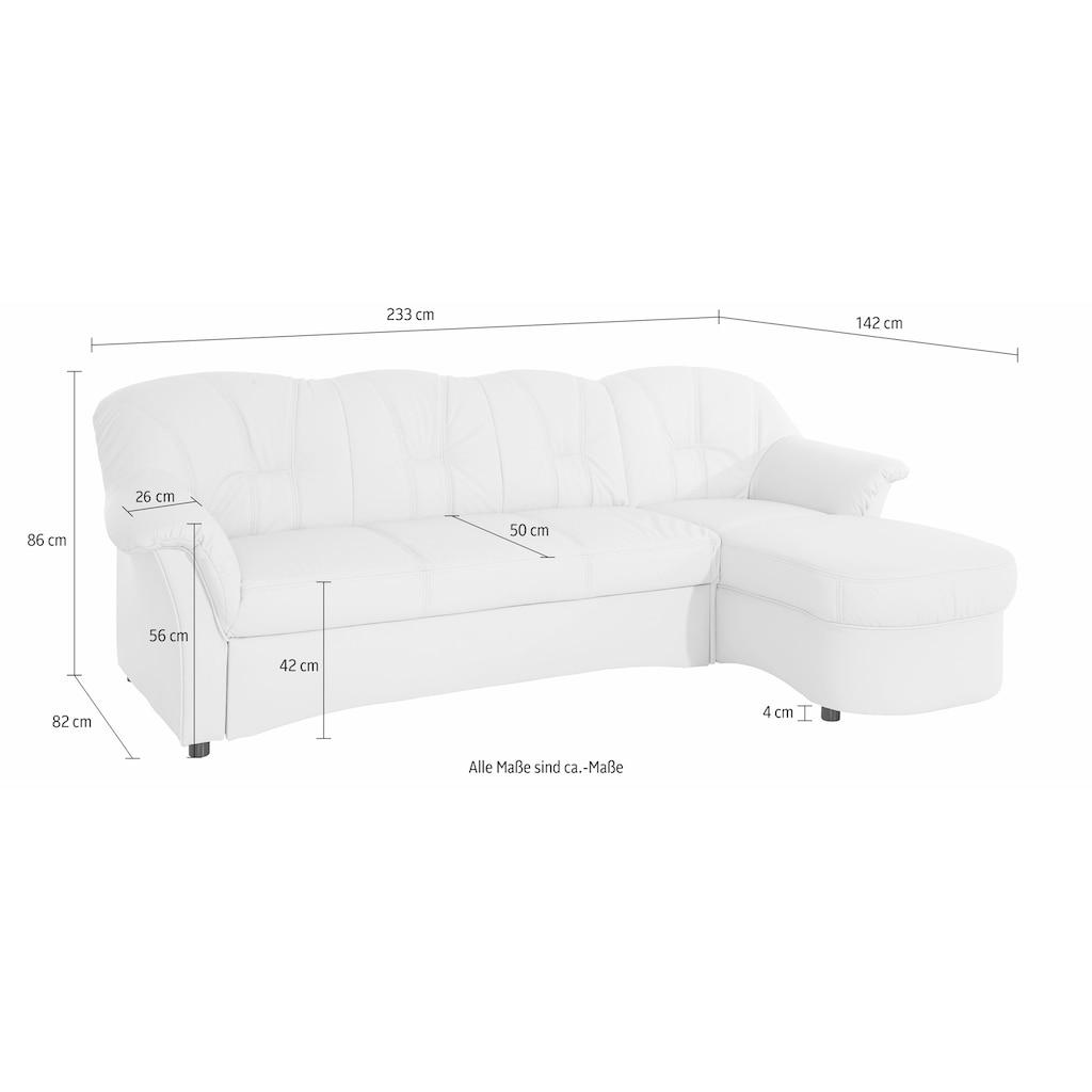 DOMO collection Ecksofa »Flores«, wahlweise mit Bettfunktion, wahlweise mit Federkern (nicht bei Microfaser PRIMABELLE®-Struktur möglich)