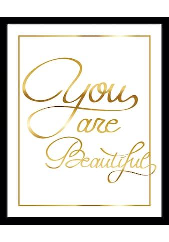 G&C Bild »YOU ARE BEAUTIFUL II gold«, gerahmt kaufen