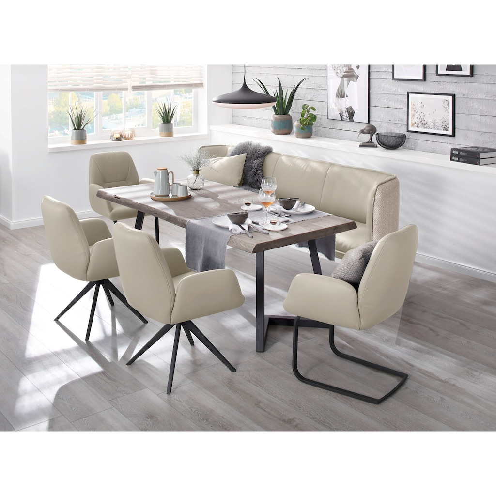 W.SCHILLIG Essbank »chloé«, 3-Sitzer Küchensofa mit dekorativer Biese, mit Absetzung im Rücken, in 3 Breiten