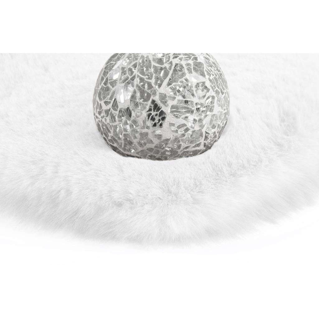 andas Fellteppich »Alvin«, rund, 45 mm Höhe, Kaninchenfell-Optik, Kunstfell, Wohnzimmer