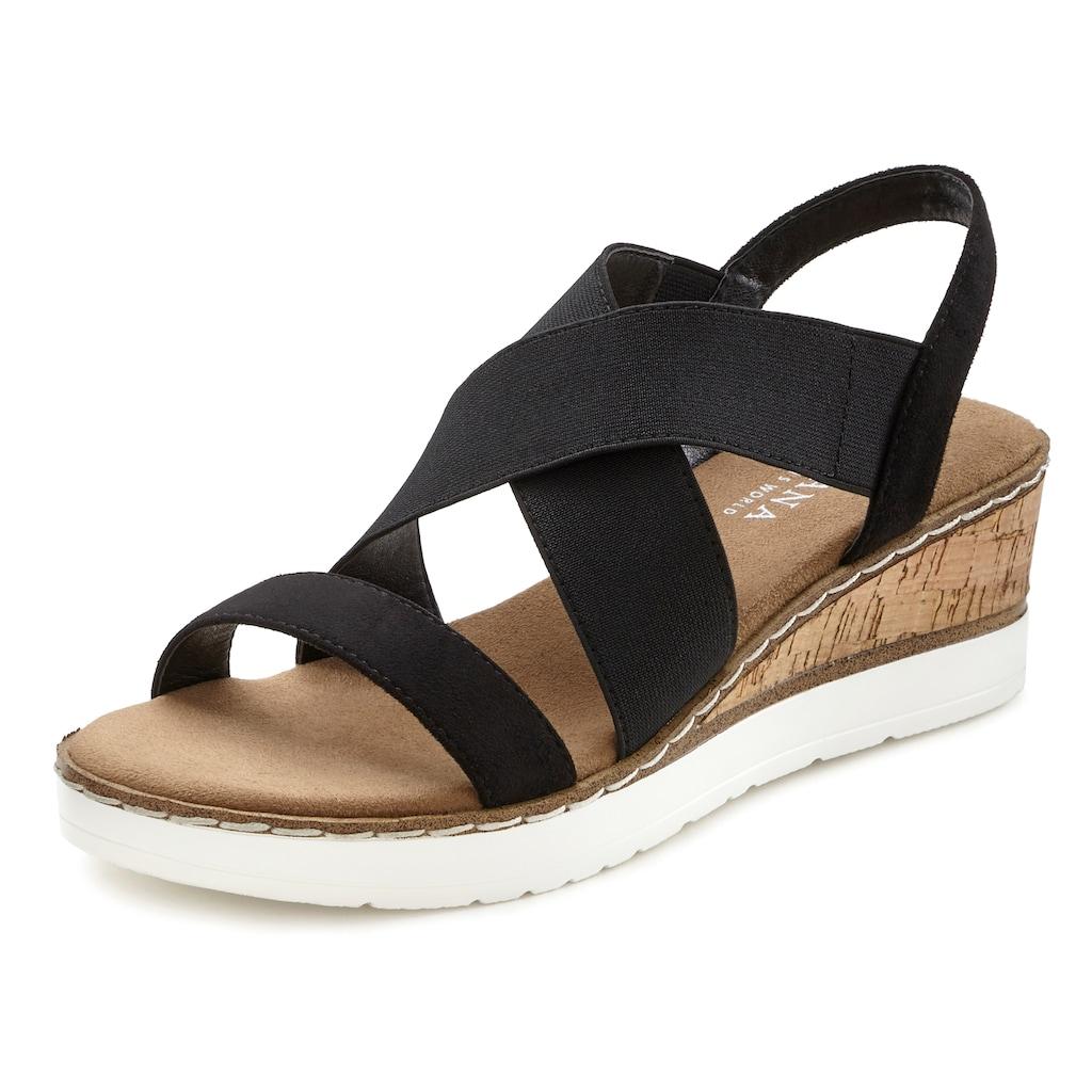 LASCANA Sandalette, mit Keilabsatz und elastischen Riemen