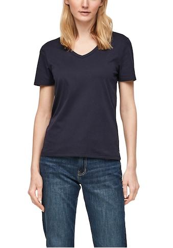 s.Oliver T-Shirt, mit V-Ausschnitt und umgenähtem Saum kaufen