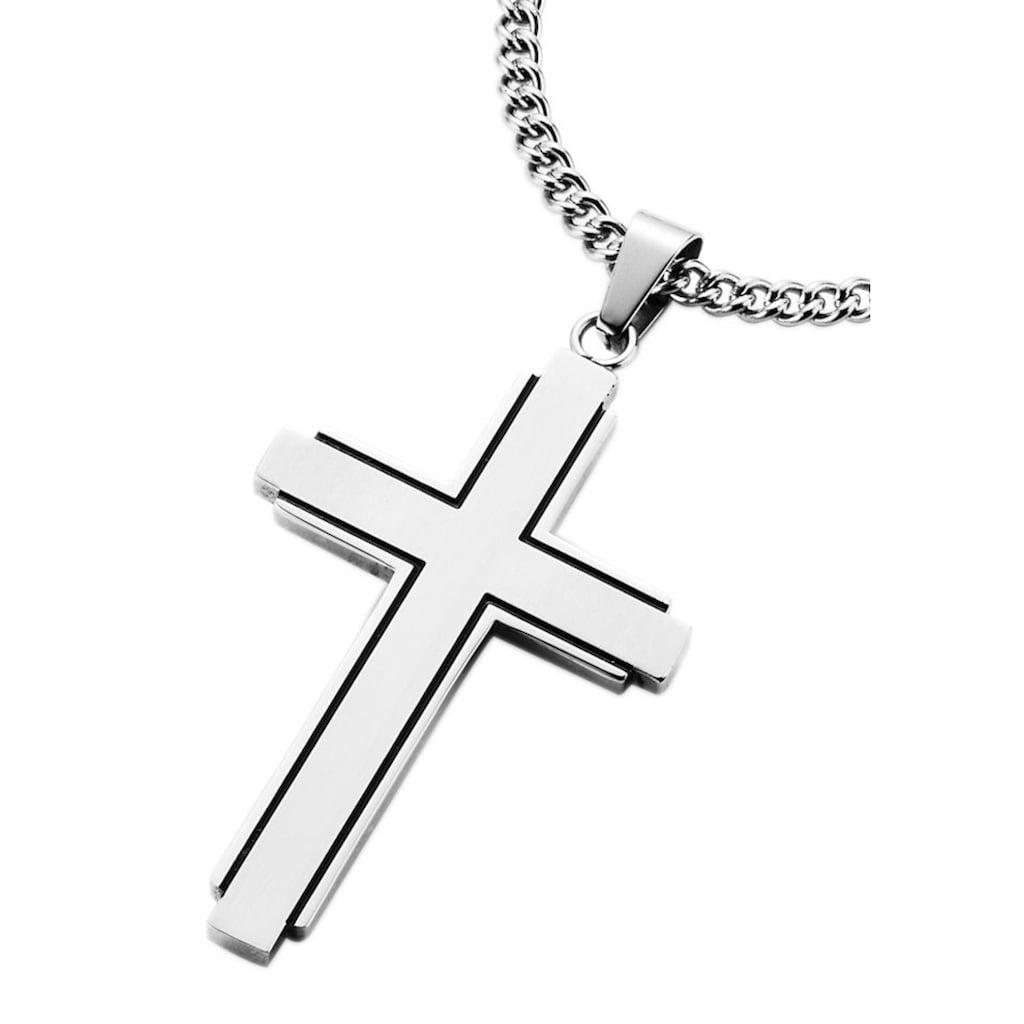 Firetti Kette mit Anhänger »Kreuz, teilweise geschwärzt«