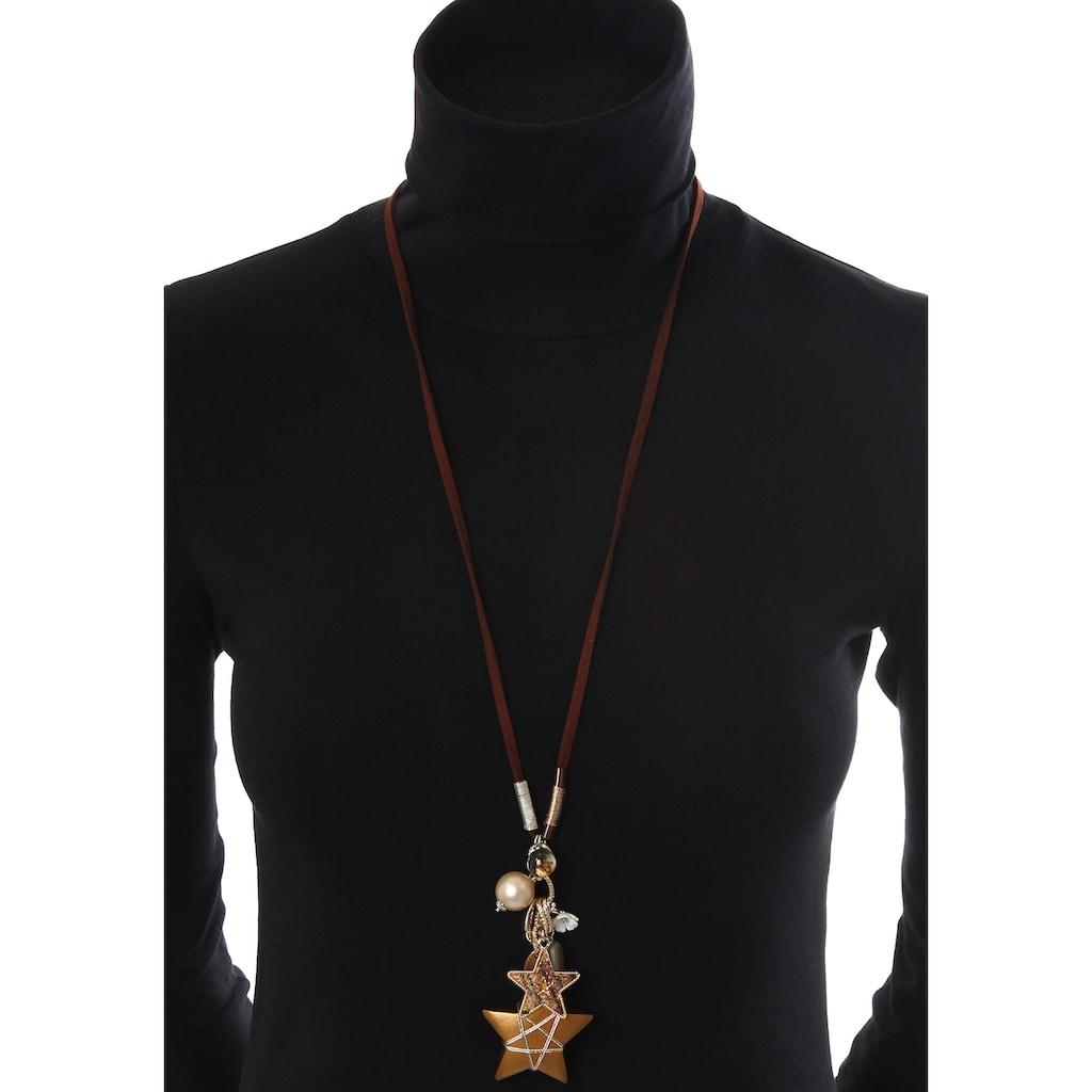 J.Jayz Lange Kette »mit kleinem und großem Stern, Blume«, mit Perle