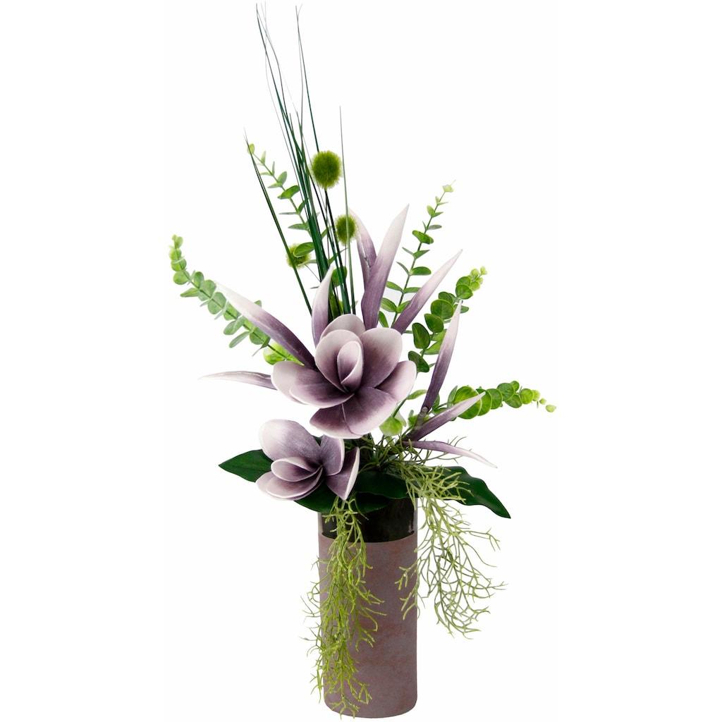 I.GE.A. Kunstpflanze »Arrangement Soft-Magnolie in Vase«