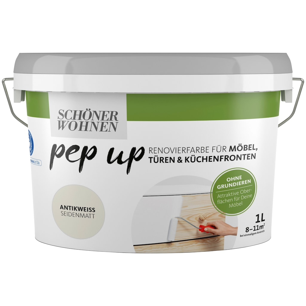 SCHÖNER WOHNEN-Kollektion Lack »pep up - antikweiß«, seidenmatt, für Möbel, Türen und Küchenfronten, 1 l