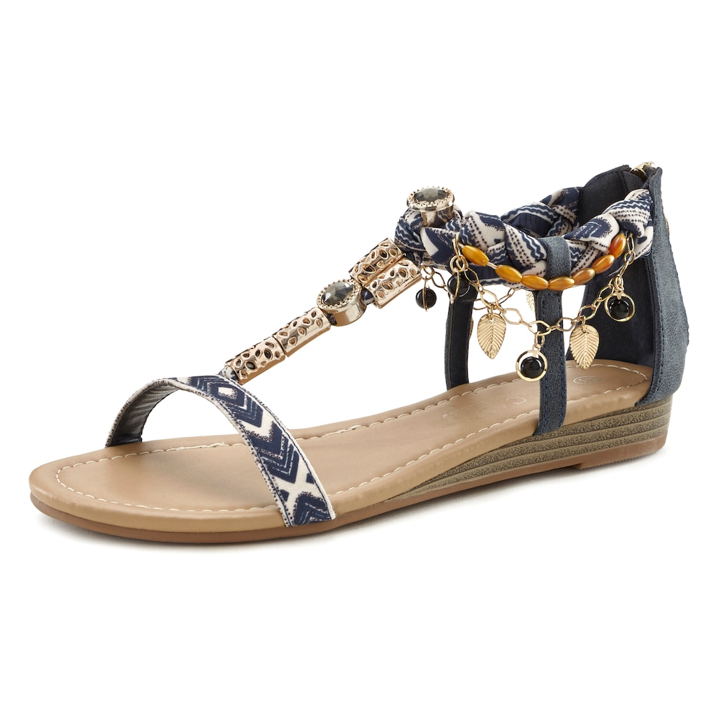 LASCANA Sandalette, mit kleinem Keilabsatz und mit modischer Verzierung