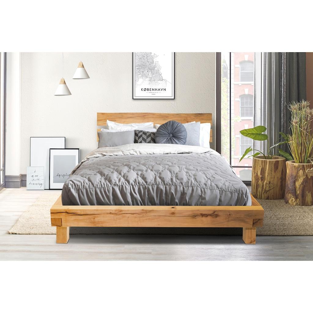 Home affaire Massivholzbett »Julijan«, aus massivem Buchenholz, mit einem leicht abgewinkelten Kopfteil, Breite 204 cm