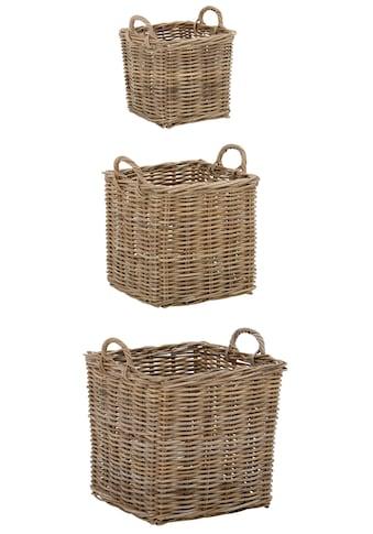 Home affaire Allzweckkorb »Vimal«, 3er Set aus Korbrohrgeflecht, mit praktischen... kaufen