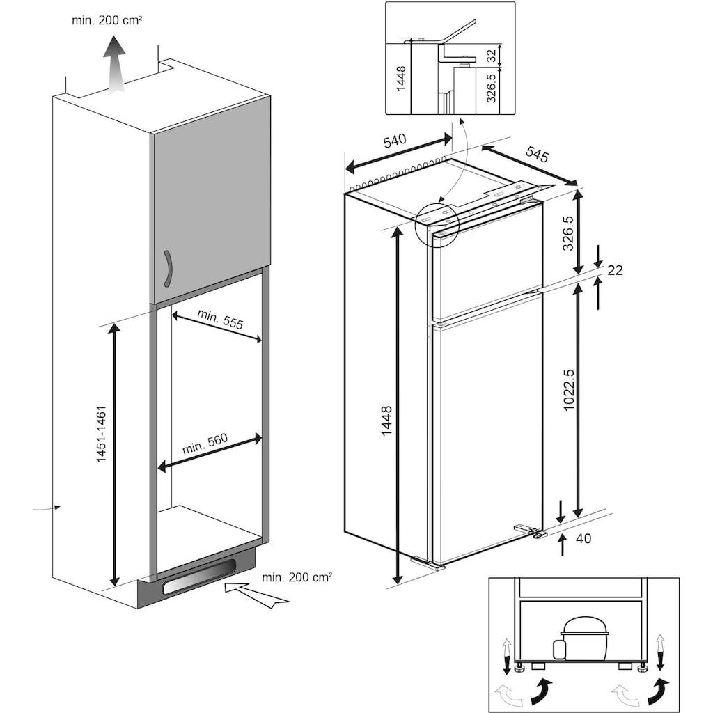BEKO Einbaukühlgefrierkombination, 144,8 cm hoch, 54 cm breit