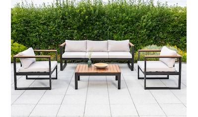 MERXX Loungeset »Mykonos«, 14 - tlg., 2 Sessel, 3er Bank, Tisch 60x90 cm, Akazie/Alu kaufen