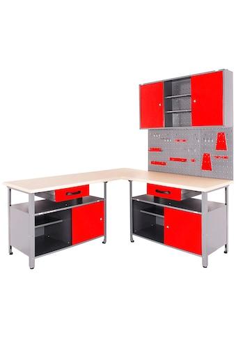 ONDIS24 Werkstatt - Set 4 - tlg., mit 2 Werkbänken, Werkzeugschrank & Lochwand kaufen