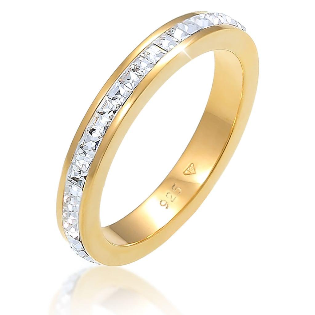 Elli Premium Fingerring »Bandring Geo Shape, 0608492619«, mit Kristallen