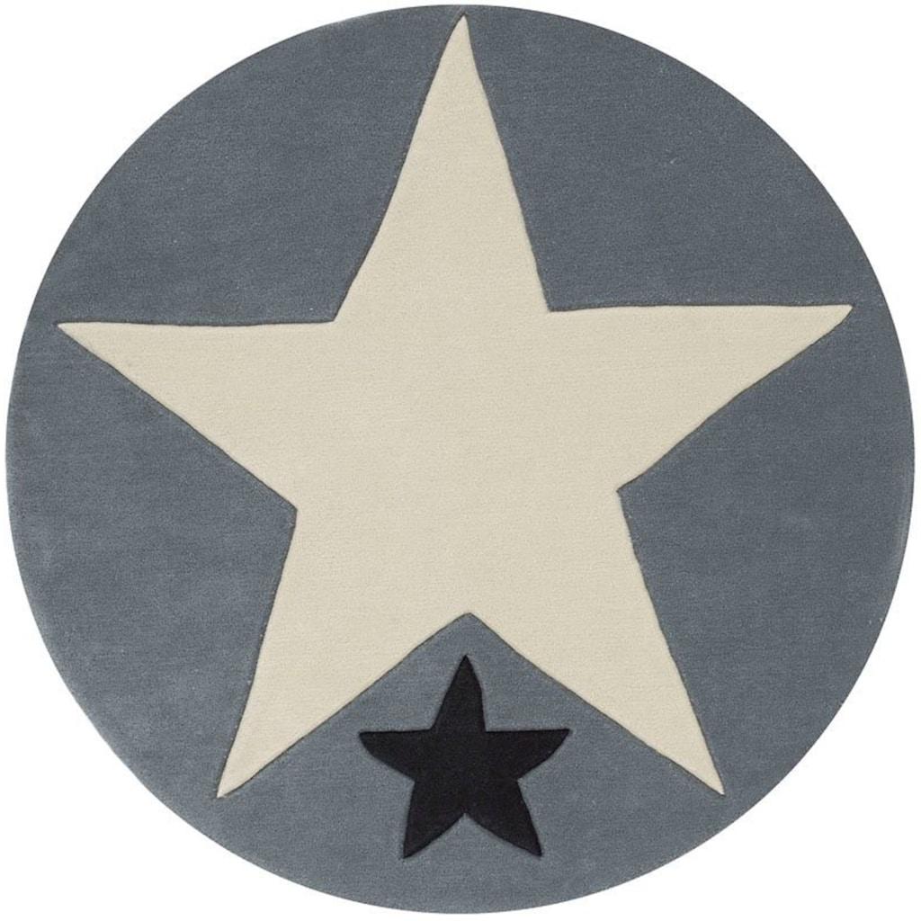 Rock STAR Baby Kinderteppich »707«, rund, 10 mm Höhe, handgearbeiteter Konturenschnitt, Kinder- und Jugendzimmer