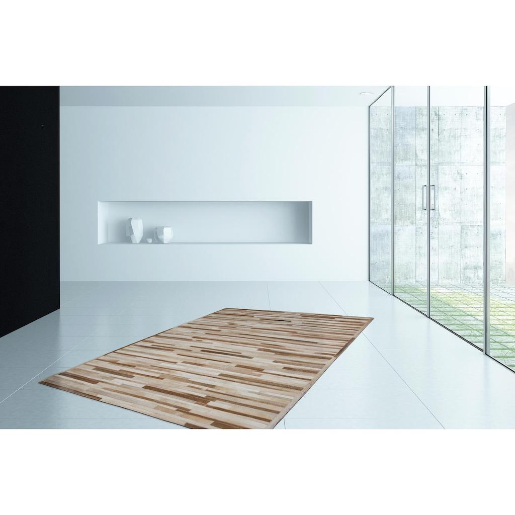 Kayoom Fellteppich »Lavish 110«, rechteckig, 8 mm Höhe, Patchwork-echtes Leder-Fell, Wohnzimmer