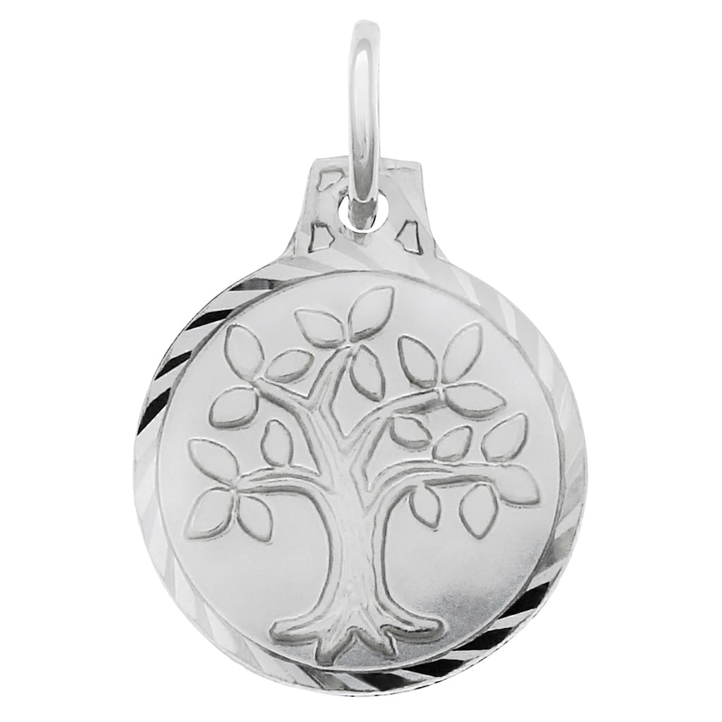 Firetti Kettenanhänger »Lebensbaum, matt und diamantiert, rhodiniert«