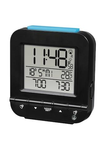 Hama Funkwecker Dual Alarm, 2 Weckzeiten, Lichtsensor, Schwarz »digitaler Funk Reisewecker« kaufen