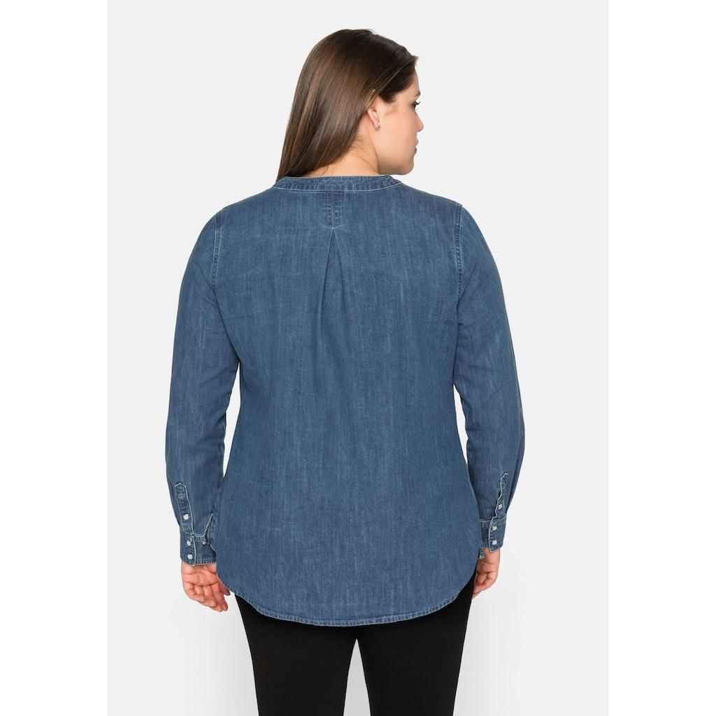 Sheego Jeansbluse, aus reiner Baumwolle