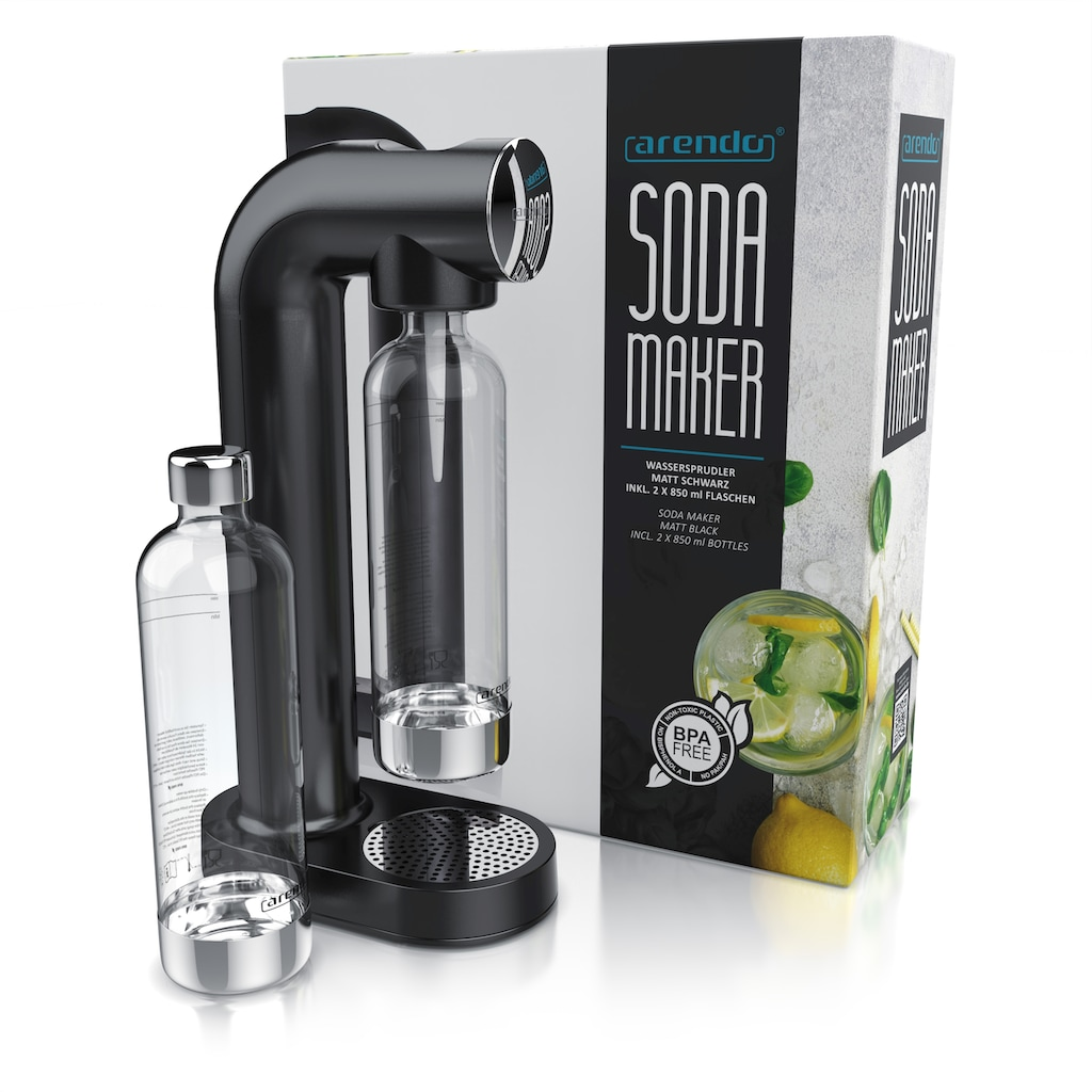 Arendo Wassersprudler »kompatibel mit 60 l CO2 Zylindern«, matt inkl. 2 x 850 ml Wasserflaschen