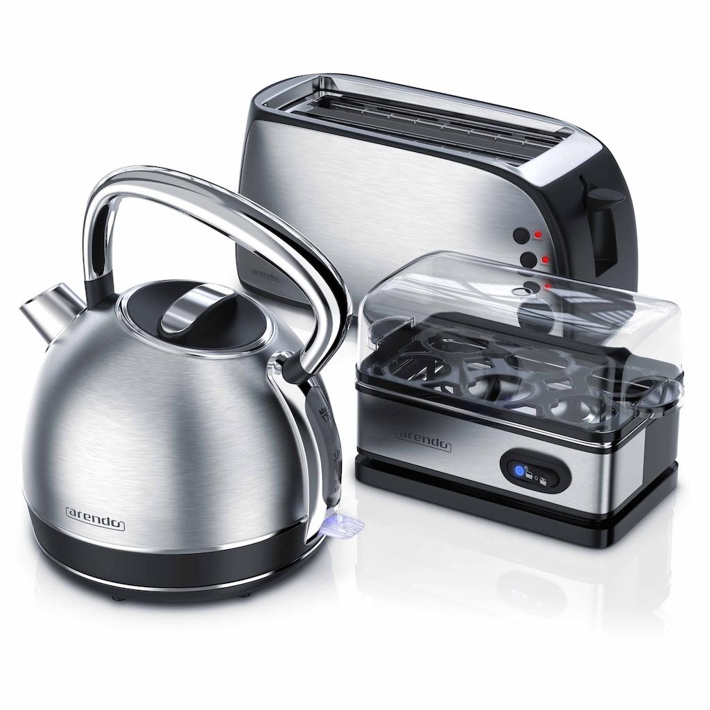 Arendo Frühstücks Set 3-teilig in Edelstahl Design »Toaster / Wasserkocher / Eierkocher«