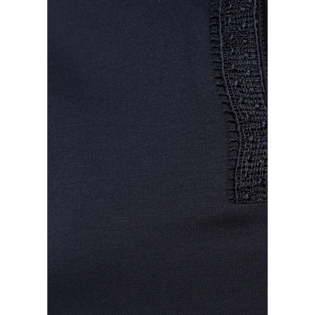 Tamaris Kurzarmshirt, mit Schnürung und Spitzendetails