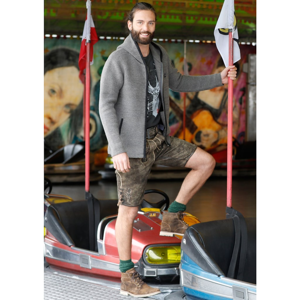 KRÜGER BUAM Trachtenstrickjacke »Bastian«, Herren mit Kapuze