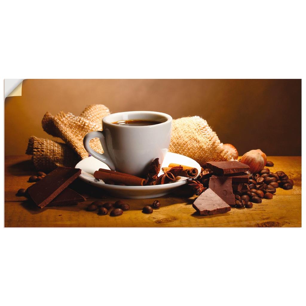 Artland Wandbild »Kaffeetasse Zimtstange Nüsse Schokolade«, Getränke, (1 St.), in vielen Größen & Produktarten - Alubild / Outdoorbild für den Außenbereich, Leinwandbild, Poster, Wandaufkleber / Wandtattoo auch für Badezimmer geeignet